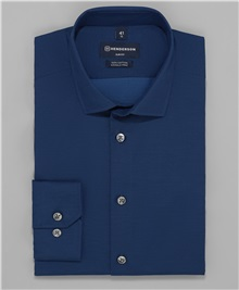 d209cdf58a5b169 фото рубашки полуприлегающего силуэта HENDERSON, цвет синий, SHL-0930-S NAVY
