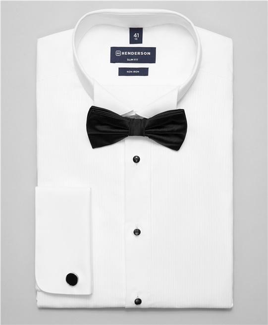 5558c350f7b219a Рубашка под смокинг, однотонная, полуприлегающий силуэт, воротник под  бабочку, манжет под запонку в белом цвете SHL-1382 WHITE- купить в  HENDERSON.
