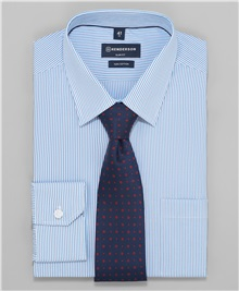 01707fe2e05b4d2 фото рубашки полуприлегающего силуэта HENDERSON, цвет голубой, SHL-1386 BLUE