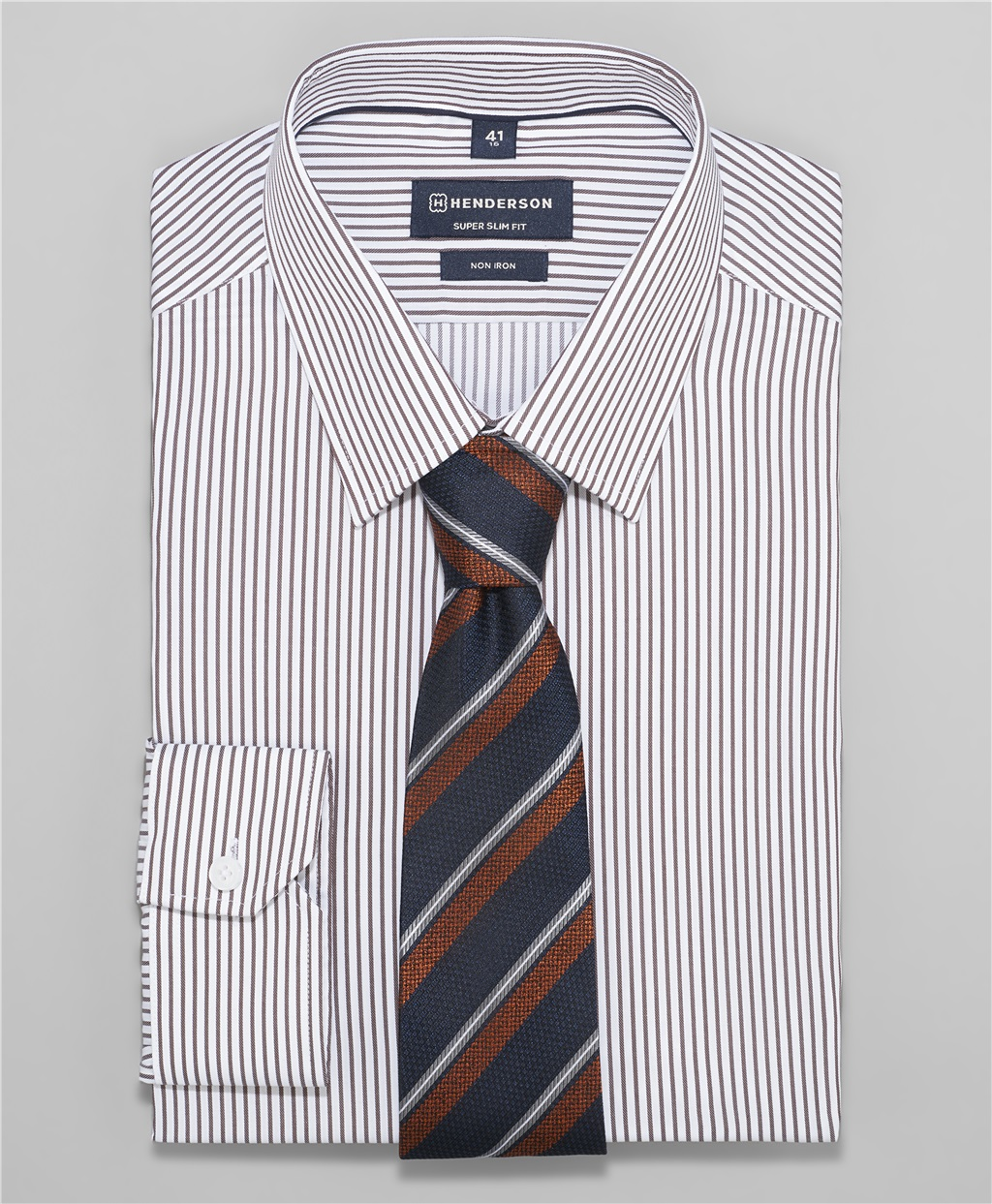 Рубашка прилегающий силуэт HENDERSON SHL-1458 BROWN фото