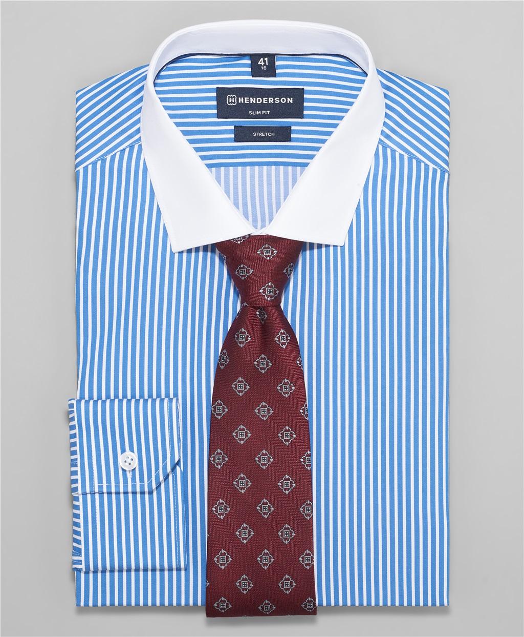 Рубашка полуприлегающий силуэт HENDERSON SHL-1462 BLUE фото
