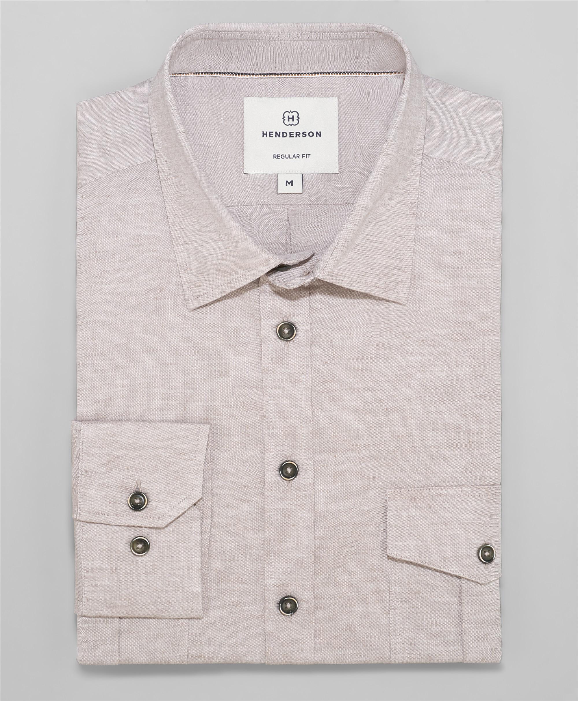 Рубашка прямой силуэт HENDERSON SHL-1593 BROWN фото