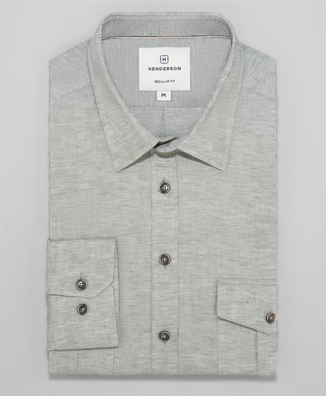 Рубашка прямой силуэт HENDERSON SHL-1593 KHAKI фото