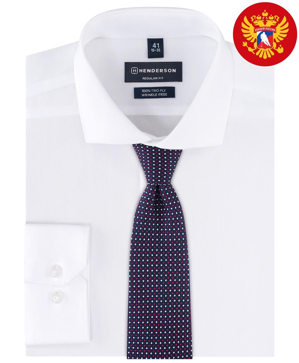 Рубашка прямой силуэт HENDERSON SHL-2053-N WHITE фото