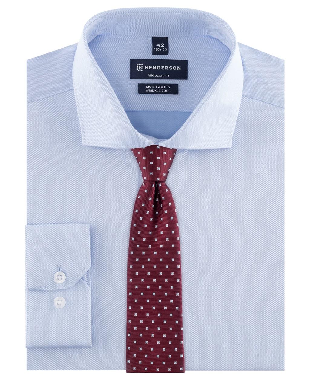 Рубашка прямой силуэт HENDERSON SHL-2426-NL BLUE фото